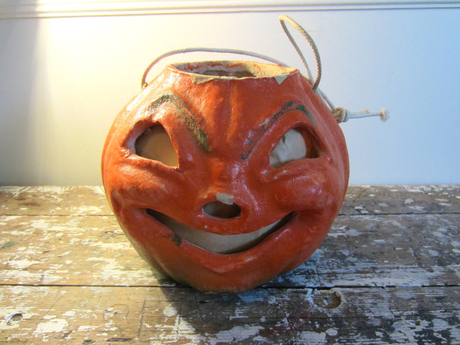 Paper mache jack o lantern vintage halloween lantern fall for Papier mache lanterns