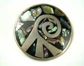 Mexican Style Silver And Stone Pin