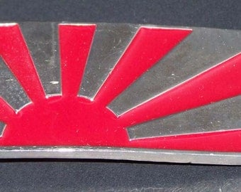 """Silver Finished Fire Engine Red """"Tokyo Sun"""" Belt Buckle"""