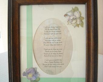Framed Sister Poem
