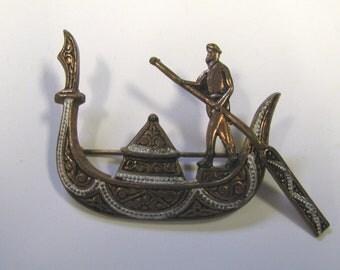 Vintage Copper Damascene Gondola Brooch signed Spain