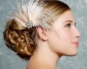 Ivory Bridal Headpiece, Bridal Fascinator, Wedding Hair Clip, Bridal Hair Accessories, Champagne, Feather Clip, wedding hair accessories