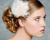 Fascinator, Bridal Fascinator, Ivory Feather Fascinator, Head Piece, Wedding Hair Accessories, Wedding Hair Piece - Made to Order - MARION