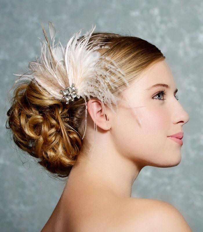 Ivory Flower Hair Clip Wedding: Ivory Bridal Headpiece Bridal Fascinator Wedding Hair Clip