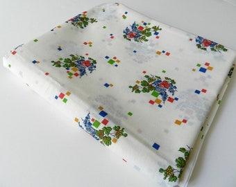 Vintage Crantex Fabrics Cream Fabric Fruit and Florals on Cream Background 4 yards
