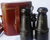 Antique Binoculars Steampunk Leather Case Military Army
