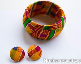 Bangle and Earring gift set:  Kente Women's Ankara African wax print
