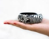Black White Bangle, Floral Geometric Bracelet, BW flowers, autumn jewelry ohtteam