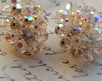 Vintage Earrings, Antique Earrings, 1950s Earrings, Clip On Earrings, Aurora Borealis Earrings, Crystal Earrings, Earrings for Women