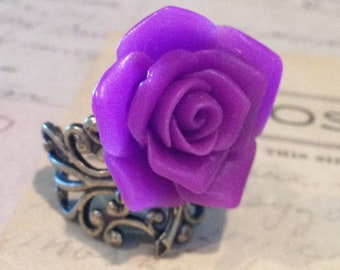 Rose Ring Vintage Steampunk Victorian Romantic Inspired Purple Rose Resin Cabochon very high quality