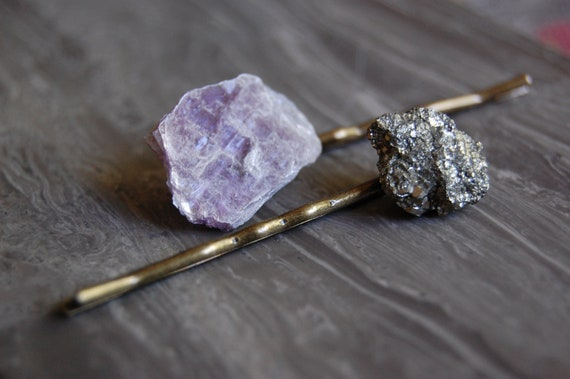 Lepidolite Plate and Pyrite Crystal Bobby Pins