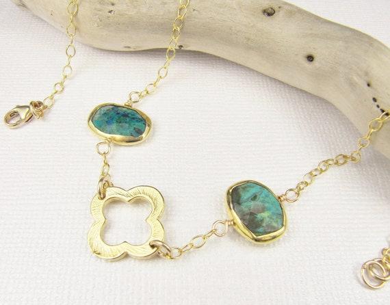 Chrysocolla Necklace, Quatrefoil Necklace, Gemstone Necklace, Gold Necklace, Bezel Set Necklace, Quatrefoil Jewelry, Chrysocolla Jewelry