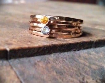 Set of Two stackable gemstone rings with three hammered stack rings 14k Gold Filled Birthstone