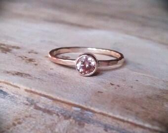 14k gold gemstone stack ring gold filled band engagement champagne cz