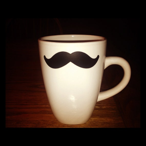 Java Delight: Simply Embellished Ceramic Coffee Mugs-Mustache