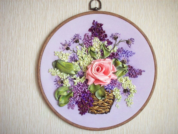 Embroidered Floral Backet with Backet with Roses and lilac-Silk ribbon