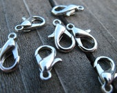 20 Silver Plated Lobster Clasps  12mm