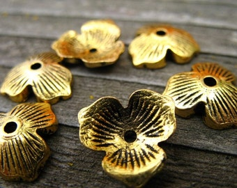 12 Gold Flower Bead Caps 11mm Antiqued Gold 11mm