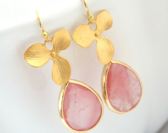 Coral Earrings, Peach, Pink, Gold Orchid Flower Earrings, Glass Earrings, Flower, Wedding Jewelry, Bridesmaid Earrings, Bridesmaid Gifts