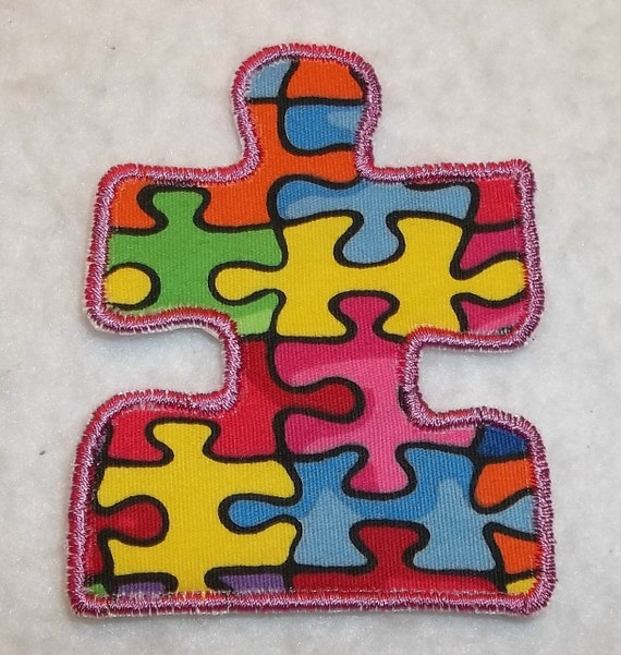 Autism Awareness Puzzle Piece (small) iron on Applique Patch 976