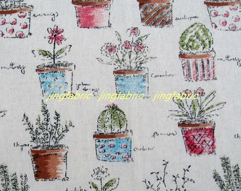 "L323 - Cotton Linen Fabric - Flowerpot  and Flowers - 27"" x 19""(70 x 50cm)"