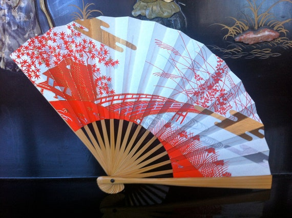 Vintage Japanese 1960's hospitality fan 1 - Sakura and Bridge accents - unopened stock