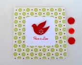 Peace and Love - Christmas Dove - Handmade Christmas Card - yarisiandco