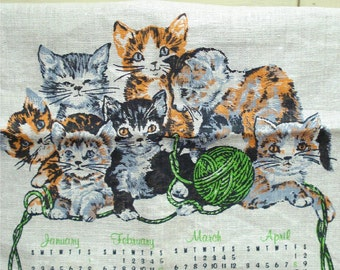 1977 Unused Cat Linen Calendar