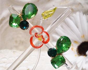 Emerald Peridot Green Cabochon Glass Rhinestone Clip Earrings