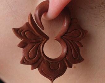Hand Carved Fake Gauges - Natural Saba Wood - MAYA Flower Hoops - Tribal Earrings
