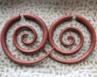 TRIPPI Hoops - Fake Gauge Earrings - XL Hand Carved Spiral Earrings - Natural Saba Wood