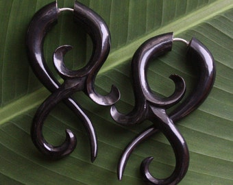 KUTA Tribal Earrings - Organic Swirl Fake Gauges - Hand Carved Natural Black Horn