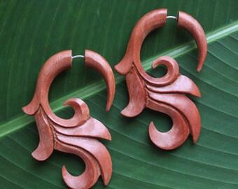 Fake Gauge Earrings - Natural Saba Wood - SUMITRA - Hand Carved Body Art