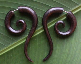 Fake Gauge Earrings - Hand Carved Natural Dark Brown Sono Wood - TALEEYA - Tribal Jewelry