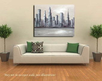 """Silver city - Original cityscape painting - gray, hints of purple, blue, white - Ready to Hang - 31,5"""" x 39,4"""""""