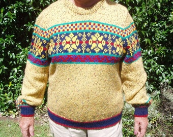 Ski Sweater with Fair Isle patterning on front and back yokes, hand knitted in size 16 to 18
