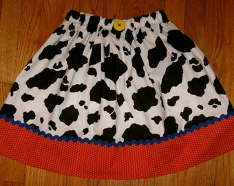 """Toy Story Jessie Ladies Women's Adult Skirt and Girls Size 10 up to Ladies Size 16 - Waist 36"""" -Cow Print - Halloween Costume - Disney Trip"""