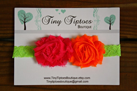 Baby Flower Headband - Bright Pink and Orange Shabby Chiffon Flowers on Lime Green Lace Stretch Headband Ready to Ship