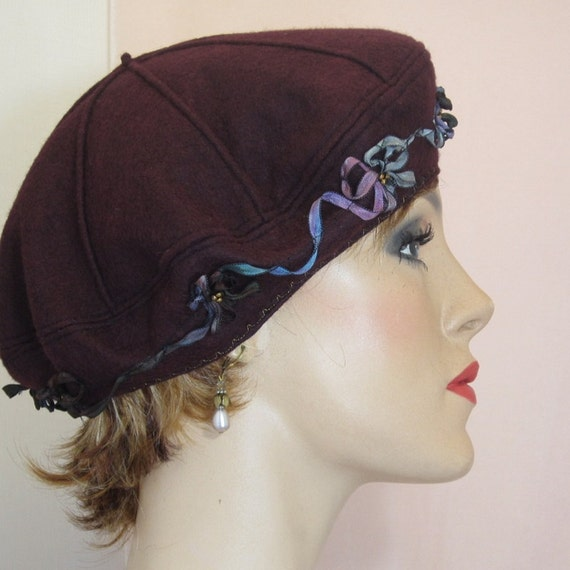 Ooh la la.  French beret of wine felted wool
