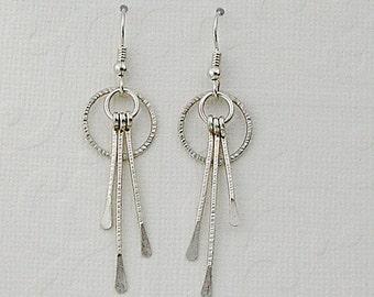 sterling silver hoop earrings, hoop earrings, dangle earrings, silver earrings, silver dangles, silver chandelier earrings