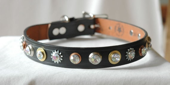 Black Leather dog Collar with Gold Copper and Silver Rivets. Doberman to Labrador will adore this collar