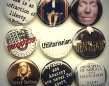 "Jeremy BENTHAM English Philosopher 9 Pinback 1"" Buttons Badges Pins"