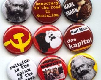 "KARL MARX Marxism Marxist 9 Pinback 1"" Buttons Badges Pins"