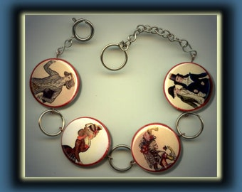 French Renaissance Clothing Dress Fashion Altered Art Button Charm Bracelet with Rhinestone