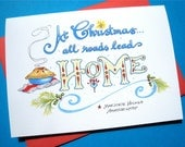 Christmas Quote Card - At Christmas All Roads Lead Home
