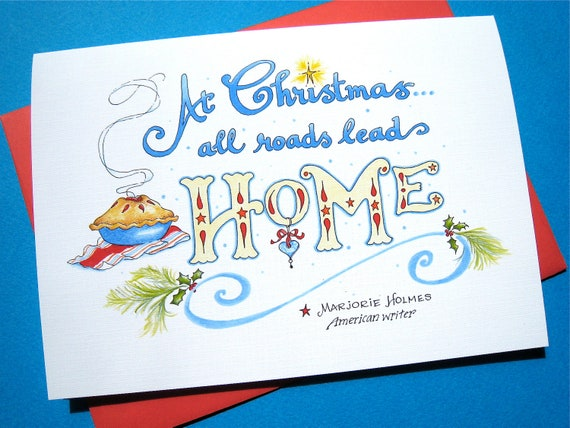 Christmas Card, Country Christmas, Home Quote - All Roads Lead Home
