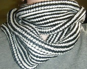 Mod, Striped, Black and White Infinity Scarf