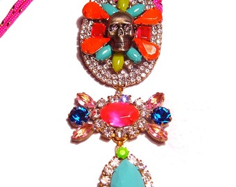 One of a Kind Neon Hand Painted Vintage Rhinestone Skull Necklace - EPHEMERA Collection FW Collection (Ready to Ship)
