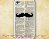 Iphone 4 Case, iPhone 4s Case, Dictionary Page iPhone Case, Mustache pattern print white iPhone 4 Hard Case