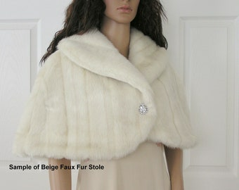 Faux Fur Stole Bridal Wrap Cape Shrug Beige Mink Vintage Pattern